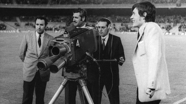 Vintage photo of television cameras at the Camp Nou