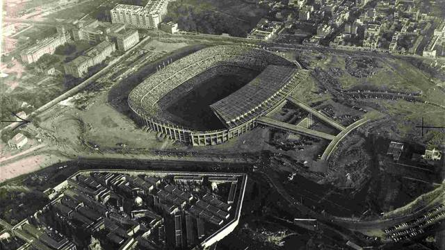 view from the air of the Camp Nou in 1957