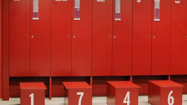 images of the players lockers with their shirt numbers