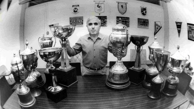 Lorente and several trophies