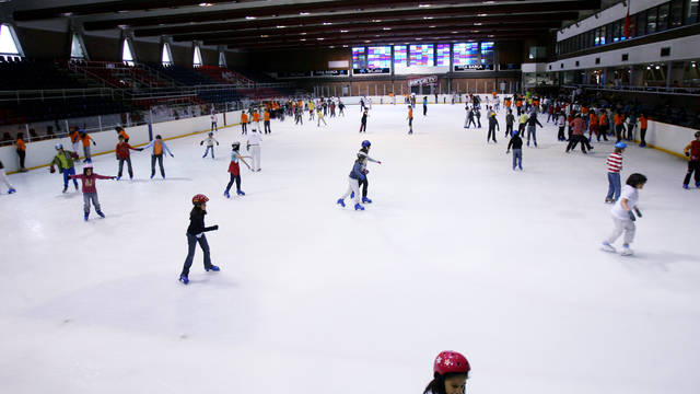 Niños patinando en la Pista de Hielo