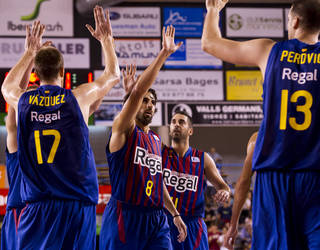 Photo of the Barça basketball team after winning the Catalan League
