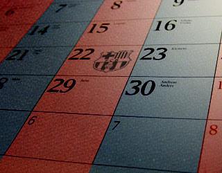image of a calendar in barça colours