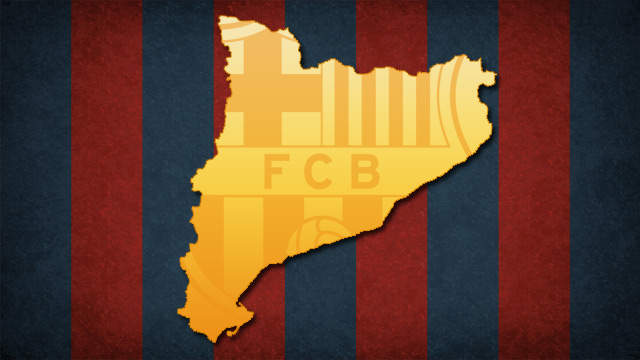 Map of Catalonia with the Barça badge superimposed