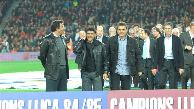 Àngel Pedraza during the tribute to the 84-85 League Champions. Photo: David Cuella