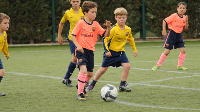 FCB Escola pupils playing football