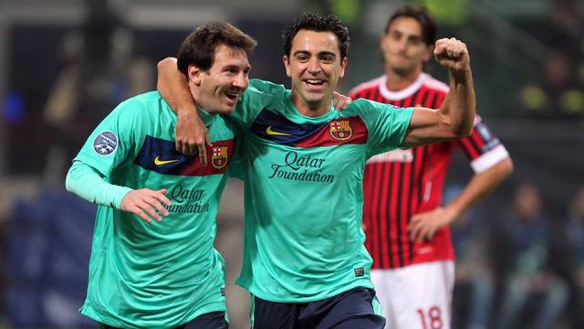 Messi and Xavi at the San Siro / PHOTO: MIGUEL RUIZ - FCB