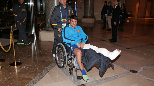 Villa's arrival at the hotel. IMAGE: MIGUEL RUIZ (FCB).