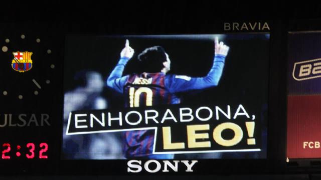 The screen at the Camp Nou when Messi broke César's record. PHOTO: MIGUEL RUIZ-FCB.