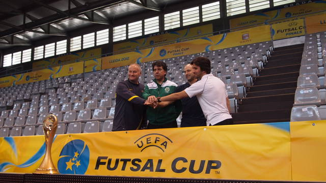 The managers of the four remaining teams in the UEFA Futsal Cup/ PHOTO: FCB