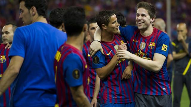 Afellay and Fontàs. PHOTO: ÀLEX CAPARRÓS-FCB.