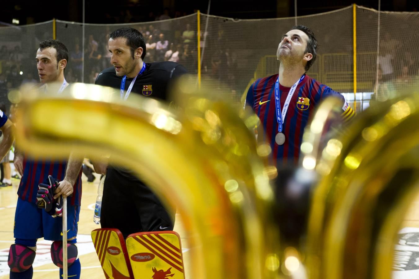 Cara de decepció dels jugadors després de perdre la final de la Lliga Europea