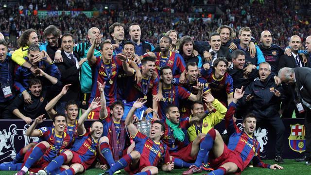 L'equip celebra la Champions 2010/11, a Wembley / FOTO: ARXIU FCB