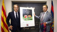Javier Faus, vice president of FC Barcelona, and Nicolae Badea, president of Dynamo Bucarest. PHOTO: ÀLEX CAPARRÓS - FCB.