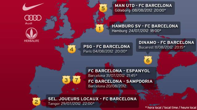 Mapa amb els partits de pretemporada del primer equip