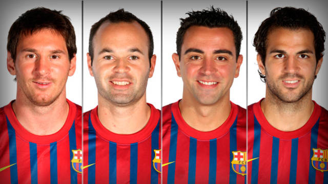 Messi, Iniesta, Xavi i Cesc
