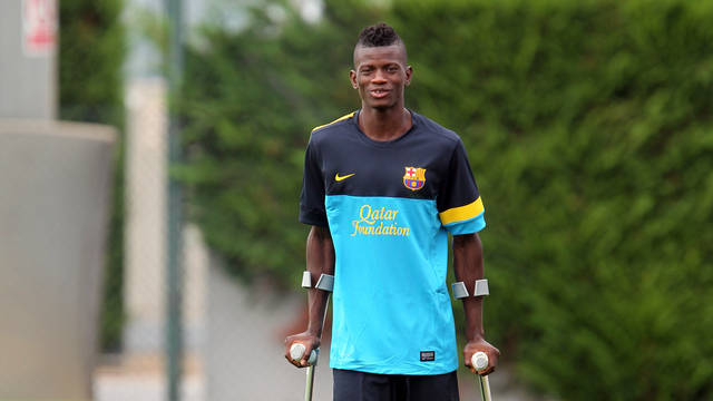 Ié at a Barça B training session / PHOTO: ARXIU FCB