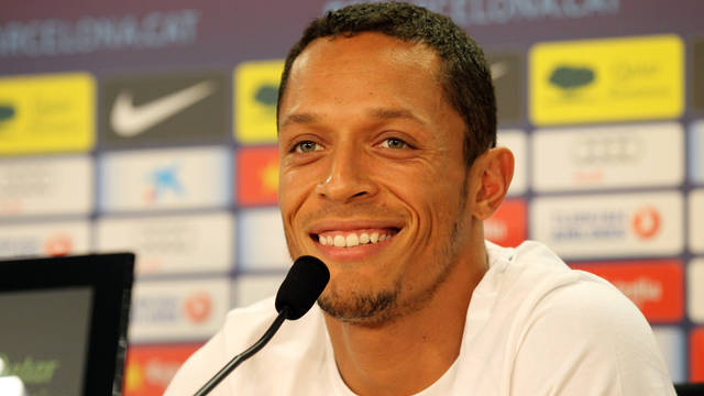 Adriano during this afternoon's press conference at the Ciutat Esportiva / PHOTO: MIGUEL RUIZ - FCB