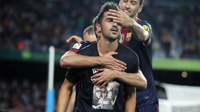 Villa, celebrant el seu gol. FOTO: MIGUEL RUIZ-FCB.