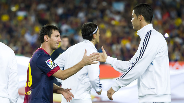 Leo Messi and Cristiano Ronaldo in the 2012 Spanish Super Cup / PHOTO: LEX CAPARRS - FCB