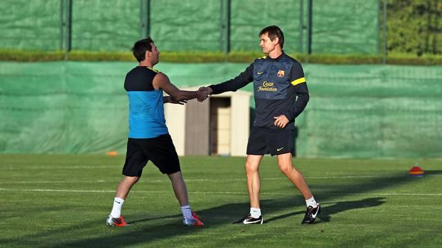 Messi i Vilanova, a l'inici de l'entrenament. FOTO: MIGUEL RUIZ-FCB.