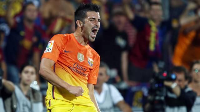 David Villa célébrant son but contre Getafe