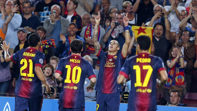 Tello celebrating his goal/ PHOTO: MIGUEL RUIZ-FCB