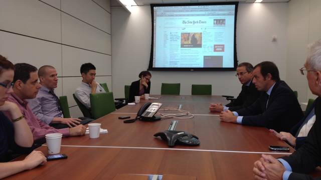 Rosel talking with The New York Times journalists. PHOTO: FC BARECLONA