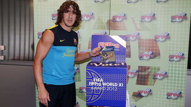 Puyol voting for the World XI team for FIFA/FIFPro 2012. PHOTO: MIGUEL RUIZ-FCB.