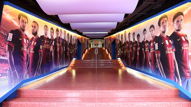 View of the players tunnel steps
