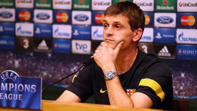 Tito Vilanova talking to the press ahead of this Tuesday's match against Celtic / PHOTO: MIGUEL RUIZ - FCB
