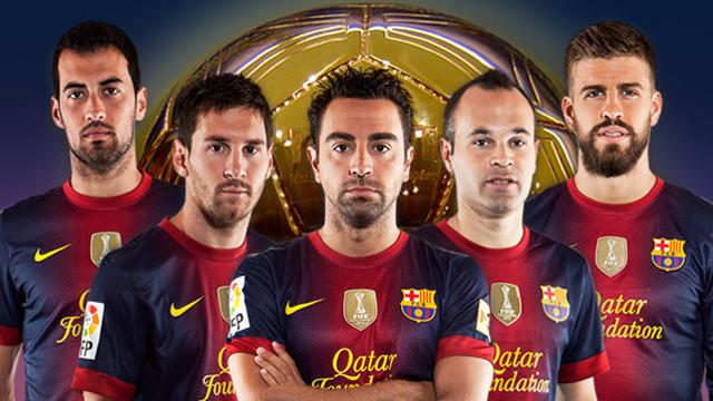 Sergio, Messi, Xavi, Iniesta i Piqué, els cinc candidats