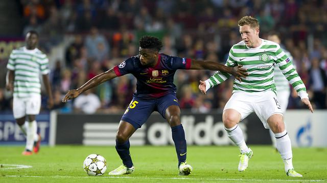 Els jugadors del Celtic, al Camp Nou / FOTO: ÁLEX CAPARRÓS-FCB