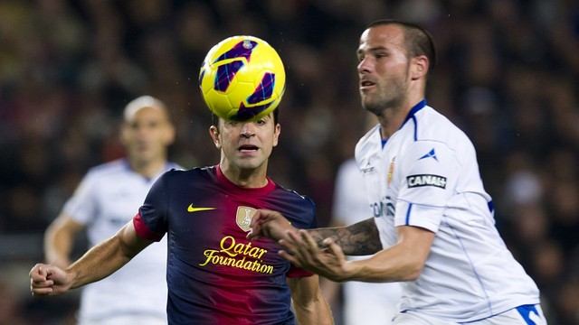 Xavi against Zaragoza / PHOTO: Miguel Ruiz - FCB