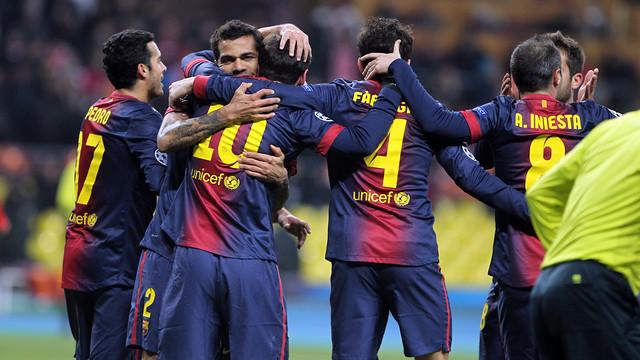 L'equip celebra un dels gols a Moscou / FOTO: MIGUEL RUIZ-FCB
