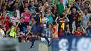 Xavi and Cesc celebrate their goals against Granada / PHOTO: ARXIU FCB