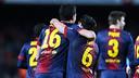 Busquets i Xavi celebren el 2-1 contra l'Atlètic de Madrid / FOTO: MIGUEL RUIZ-FCB