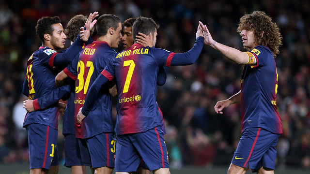 The players celebrate / PHOTO: MIGUEL RUIZ - FCB