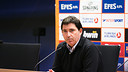 Xavi Pascual ha analitzat l'Olympiacos abans d'enfrontar-se aquest divendres / FOTO: ARXIU FCB