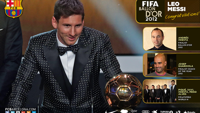Wallpaper Leo Messi Ballon d'Or 2012 ENG