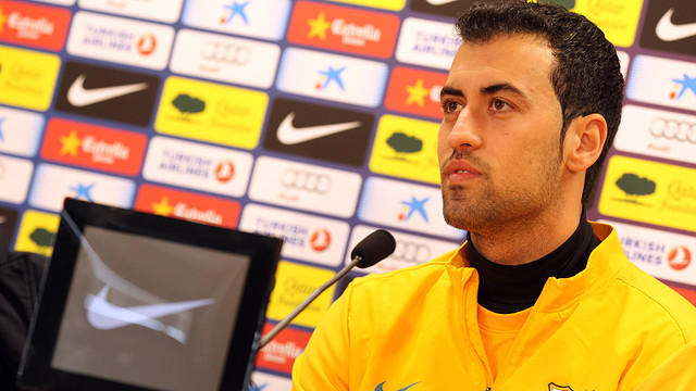 Busquets in a press conference | PHOTO: MIGUEL RUIZ - FCB