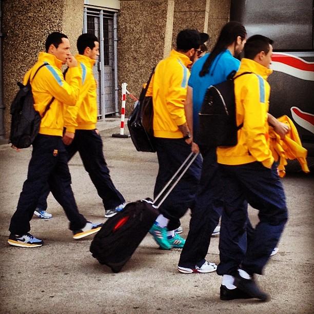 Les joueurs en route vers Madrid
