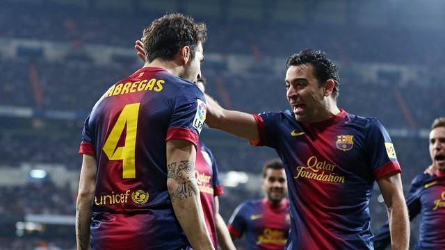 Cesc i Xavi celebren un gol. FOTO/ Miguel Ruiz - FCB