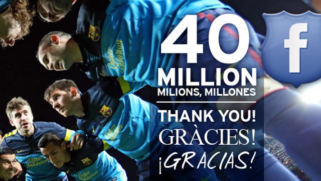 40 million of fans on FC Barcelona's Facebook