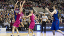 Navarro in action against Caja Laboral in last year's semi-finals. PHOTO: ÁLEX CAPARRÓS - FCB