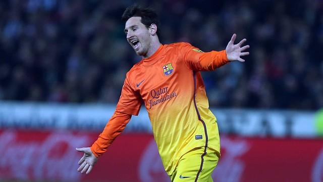 Messi celebra su segundo gol en Granada / FOTO: MIGUEL RUIZ-FCB