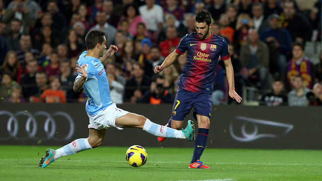 Villa in the Barça-Celta game. FOTO: MIGUEL RUIZ - FCB