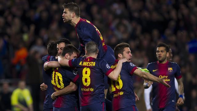Gol de Messi contra el Milan. FOTO: ÀLEX CAPARRÓS-FCB.