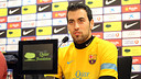 Busquets in a press conference PHOTO: MIGUEL RUIZ-FCB.