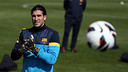 Pinto, Dos Santos and Abidal train with Barça B